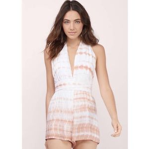 Tobi Orange Tie Dye Halter Romper